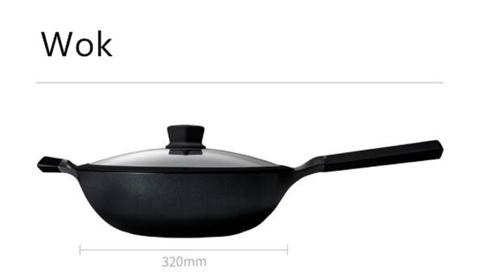 Xiaomi Huohou NonStick Super Platinum Frying Pan Wok Stockpot Milk pan durable Easy to clean High temperature reminder Kitchen Cookware